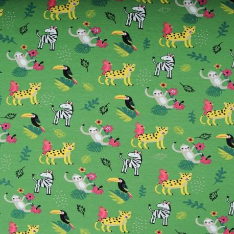 Jersey Coton au mètre vert animaux jungle en 145cm n°10596