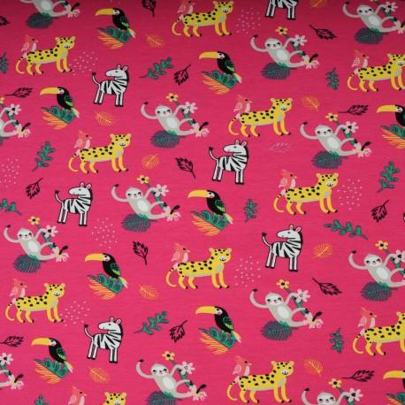 Jersey Coton au mètre fuschia animaux jungle en 145cm n°10598