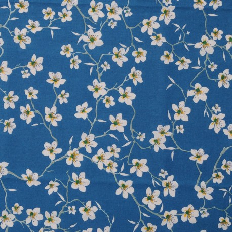 Tissu Coton cretonne imprimé Fleur d'Amandier bleu canard en 150cm