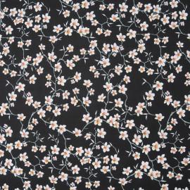 Tissu Coton cretonne imprimé Fleur d'Amandier noir en 150cm