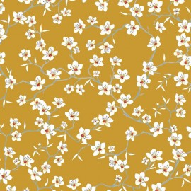 Tissu Coton cretonne imprimé Fleur d'Amandier moutarde en 150cm