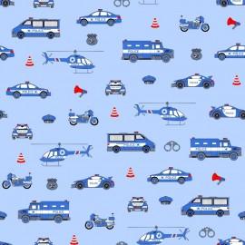 Coton OEKO TEX police fond bleu en 160cm