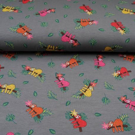Jersey Coton au mètre Paresseux sur fond gris en 145cm n°10600