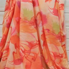 Tissu froissé stretch polyester et viscose oranger n°10601