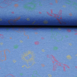 Tissu jersey bleu OEKOTEX au mètre motif animaux safari en 145cm n°10603