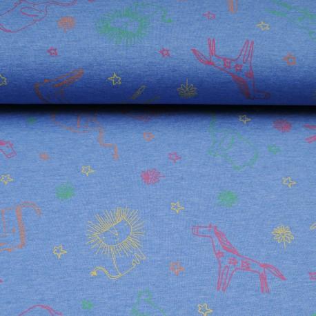Tissu jersey bleu au mètre motif animaux safari en 145cm n°10603