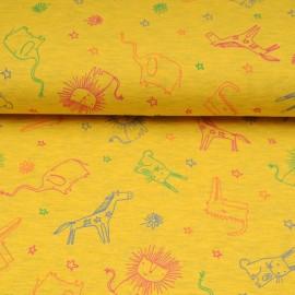 Tissu jersey jaune OEKOTEX au mètre motif animaux safari en 145cm n°10602