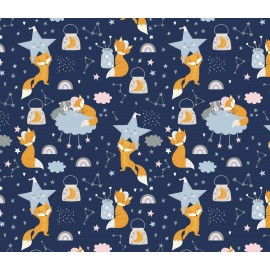 Coton OEKO TEX renard nuit étoilée fond bleu marine en 160cm