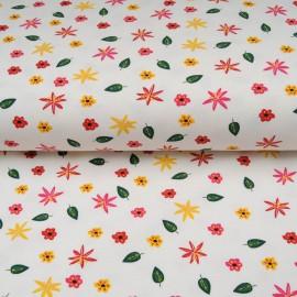 Jersey Coton Oekotex au mètre petite fleur fond blanc en 145cm n°10606