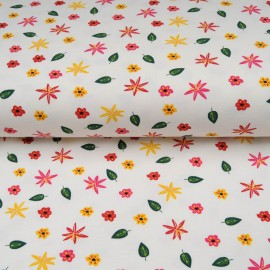Jersey Coton au mètre petite fleur fond blanc en 145cm n°10606