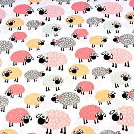 Coton OEKO TEX moutons multicolores fond blanc en 160cm