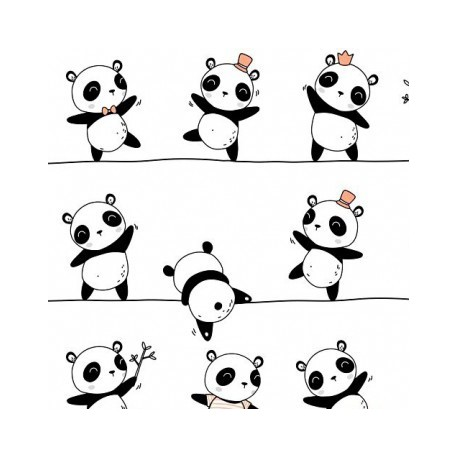 Coton OEKO TEX panda noir sur fil fond blanc en 160cm