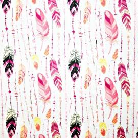 Coton OEKO TEX guirlande de plumes roses fond blanc en 160cm
