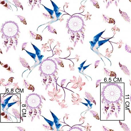 Coton OEKO TEX Attrape rêve mauve hirondelle fond blanc en 160cm