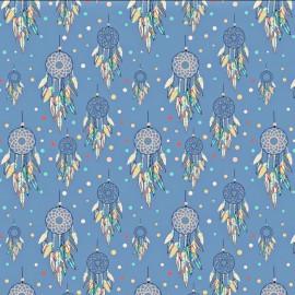 Coton OEKO TEX Attrape rêve fond bleu grand motif en 160cm