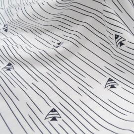 Au mètre, jersey coton blanc motif poisson marine en 150cm n°10610