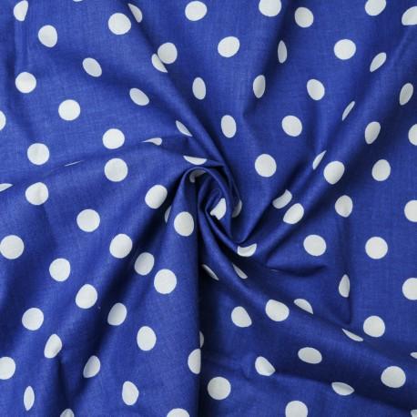 Coton OEKO TEX gros pois blanc fond bleu marine en 160cm
