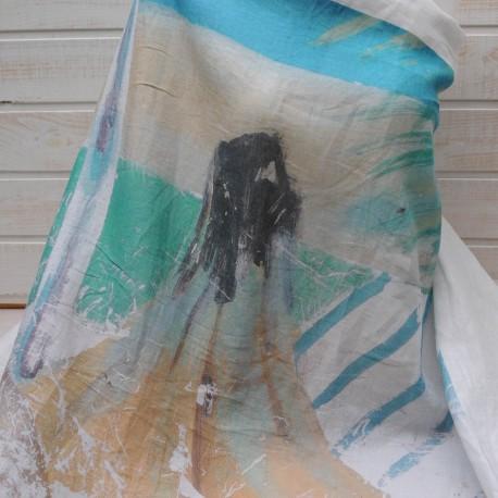 Panneau Lin Coton imprimé sur fond blanc 1m10 en 145cm