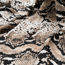 Coupon microfibre woolpeach polyester peau serpent taupe 2m50en 150cm n°10614