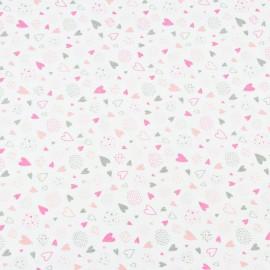 Coton OEKO TEX mini coeur rose fond blanc en 160cm
