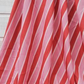Coupon polyester lisse à rayure bordeaux et rose 2m80 en 150cm n°10621