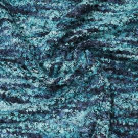 Bouclette Laine au mètre en 165cm Bleu turquoise n°10626