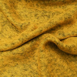 Tissu au mètre Laine bouillie chinée couleur moutarde en 160cm n°10629