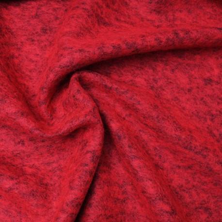Tissu au mètre Laine bouillie chinée couleur Rouge en 160cm n°10629