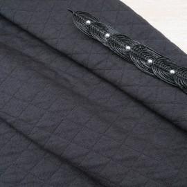 Tissu Jersey Matelassé Coton et Polyester au mètre noir en 145cm n°10630