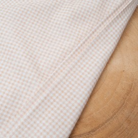 Au mètre fin jersey Coton mini vichy beige blanc 3mm en 170cm