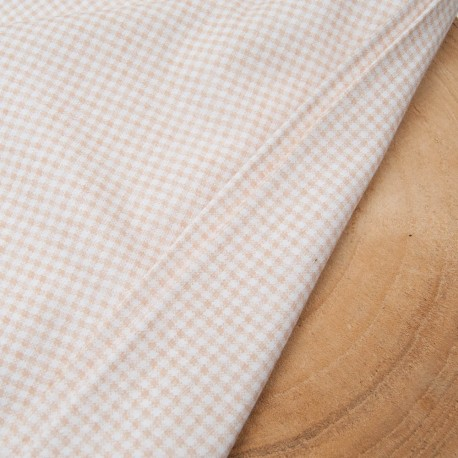Au mètre fin jersey Coton vichy beige blanc 3mm en 170cm