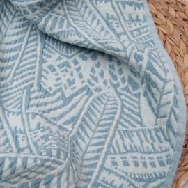 Coupon Jacquard bleu denim et bleu ciel Polyester et Coton 1m45 en 145cm 10638