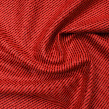 Molleton douillet rouge orangé strié noir en 155cm n°10627