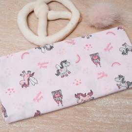 Mini Coupon Coton OEKO TEX petite Licorne fond rose 50cm x 80cm