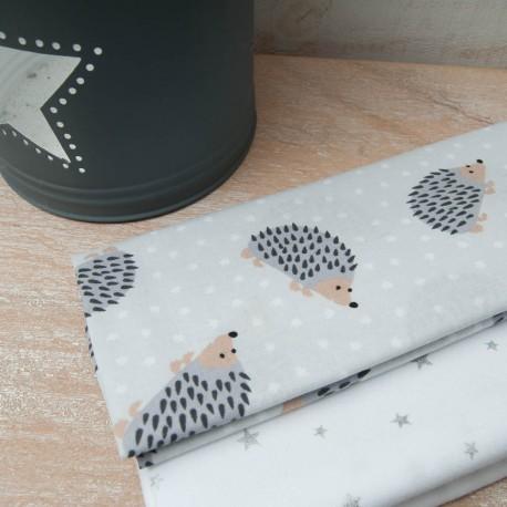 Mini Coupon Coton OEKO TEX hérisson fond gris 50cm x 80cm