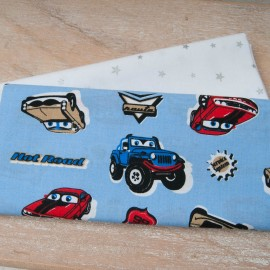 Mini Coupon Coton OEKO TEX voitures fond bleu 50cm x 80cm