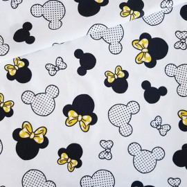 Coton OEKO TEX tête Minnie noeud jaune fond blanc en 160cm