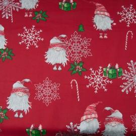 Coton OEKO TEX père Noël flocon argent fond rouge en 160cm