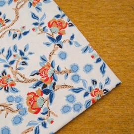 Coupon Lin coton imprimé fond vanille 1m30 en 140cm n°10640