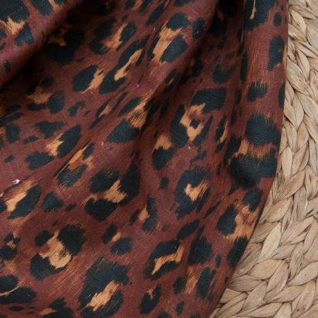 Au mètre Lin coton imprimé graou marron noir n°10641