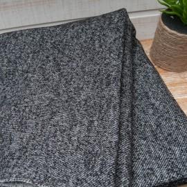 Au mètre lainage jacquard chiné noir et gris en 125cm n°10649