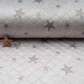 Au mètre fourrure matelassée étoile taupe en 160cm n°10647