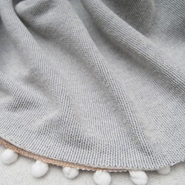 Coupon molleton Coton rayé gris blanc 1m25 en 170cm n°10650