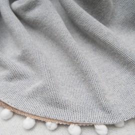 Coupon molleton Coton rayé gris blanc 1m85 en 170cm n°10650