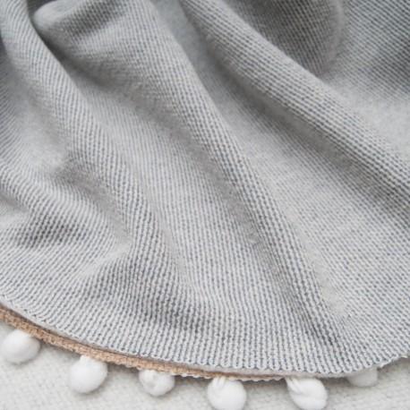 Au mètre molleton Coton rayé gris blanc en 170cm n°10650