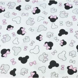 Coton OEKO TEX tête Mini Minnie noeud rose fond blanc en 160cm