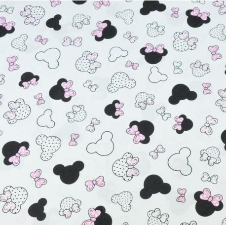 Coton OEKO TEX Mini Minnie noeud rose fond blanc en 160cm