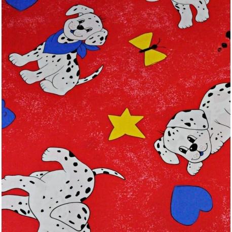 Coton OEKO TEX chiot dalmatien fond rouge en 160cm