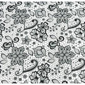 Coton OEKO TEX façon dentelle noire sur fond blanc en 160cm