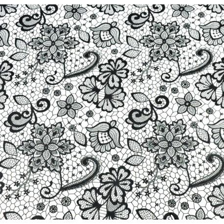 Coton OEKOTEX façon dentelle noire sur fond blanc en 160cm